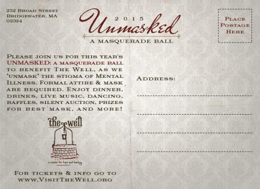 Unmasked Fundraiser Branding / Invitation (back)